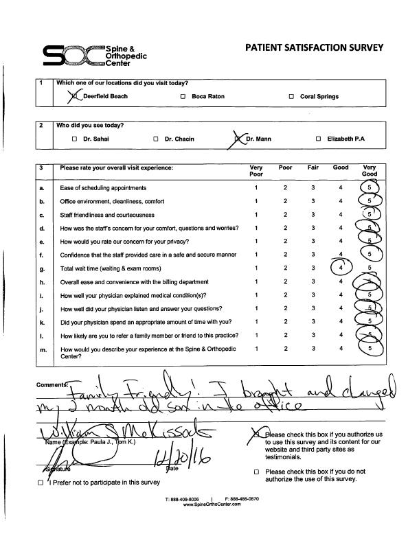 orthopedic patient survey 114